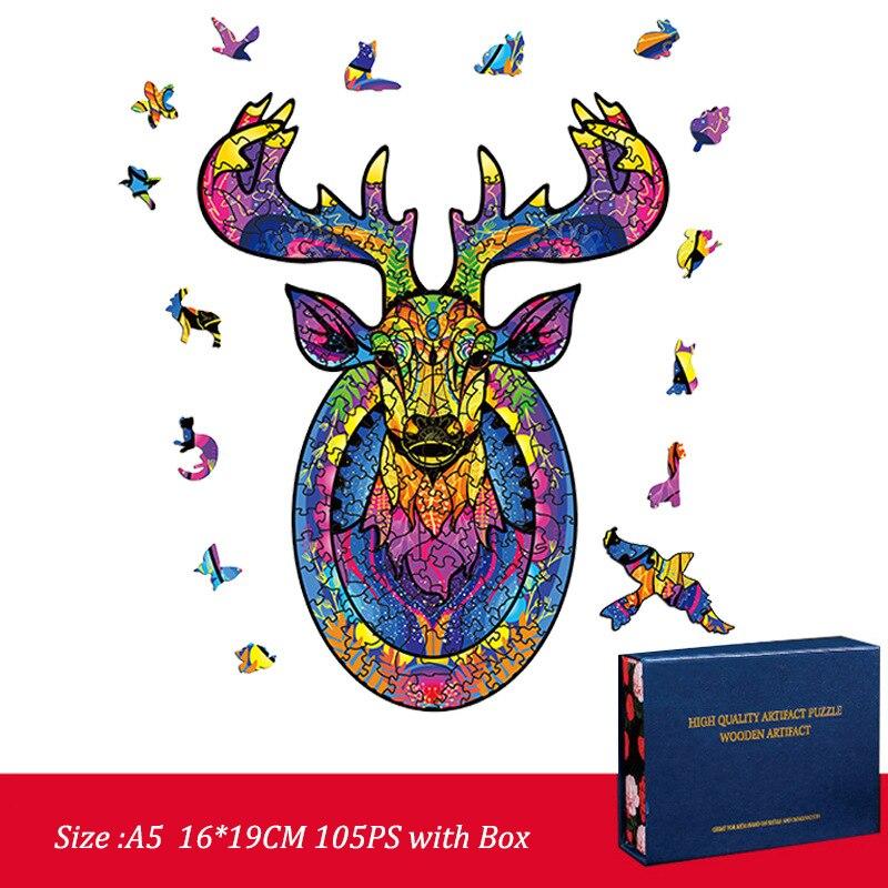 FEOOE Хэллоуин, оленя, совы, в форме деревянные пластины нерегулярные пазл с животными; Изготовление на заказ деревянные пазлы для деревянная ...