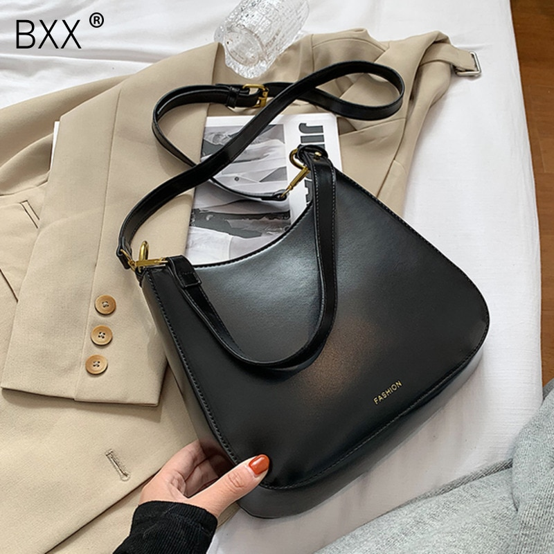 [BXX] Solid Color PU Leather Bags for Women 2021 Branded Luxury Fashion Shoulder Crossbody Handbags Trending Lux Hand Bag HP092