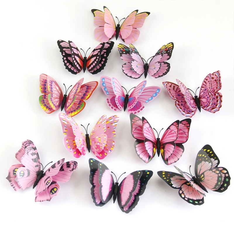 12 teile/satz Multicolor Doppel Schicht 3D Schmetterling Wand Aufkleber Magnet PVC Schmetterlinge Party Kinder Schlafzimmer Kühlschrank Dekoration 10 farbe