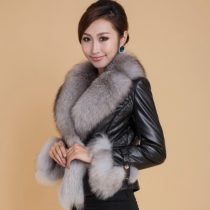 S-3XL Thick Warm Winter Coat 2021 New Fashion Women's Faux Leather Jackets Coats With Fur Short Leather Parka Jacket Pu Fur Coat round toe pu leather loafers with faux fur