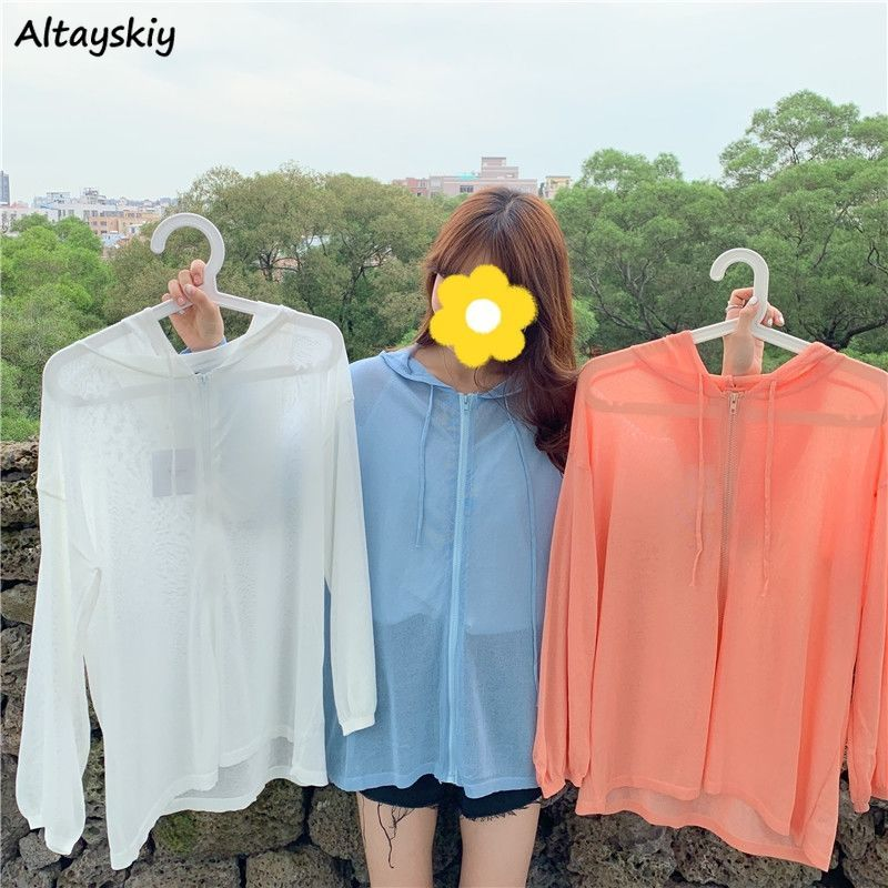 Basic Jackets Women 3 Colors Loose Summer Sun-proof Thin Basic with Hat Simple Leisure Solid Ulzzang