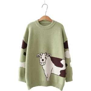 Sweaters Women's Jumper O-neck Pullover Long Sleeve Loose Knitted Pullover 2020 Winter Female Cartoon Cows Embroidery Top