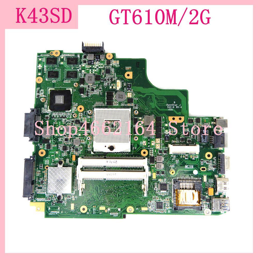 K43SD GT610M/2G placa base de Computadora Portátil para ASUS X43S K43S A43S P43S A43SD K43SD placa madre del cuaderno K43SD placa base totalmente probado