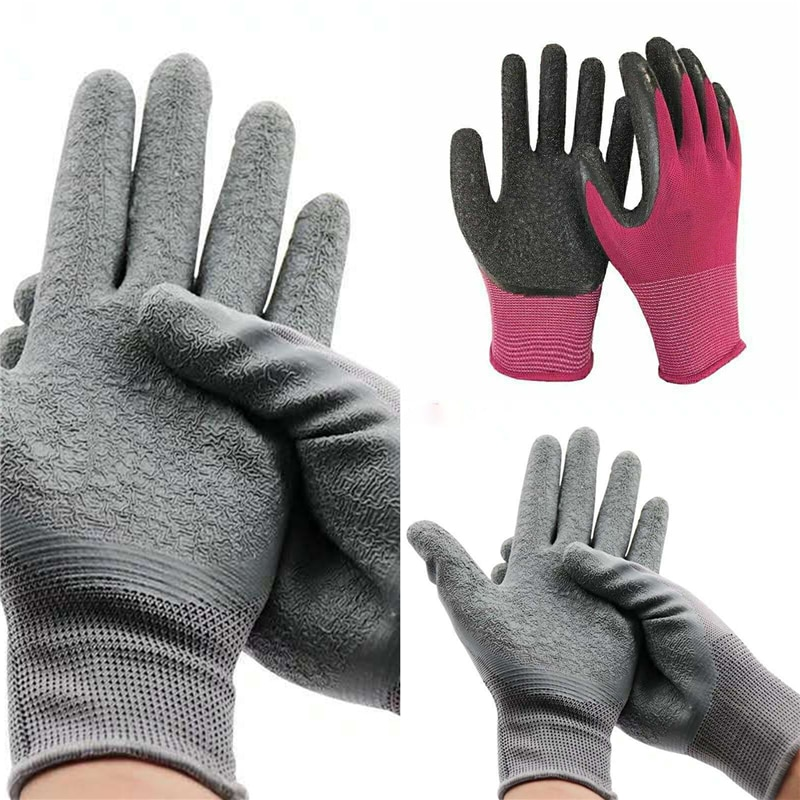 1 Pairs Women And Men Gardening Gloves Nitrile Coated Garden Gloves Against Slip and Dirt Breathable Stretchable Mechanic Gloves