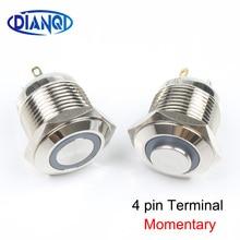 16mm Metalen waterdichte Drukknop 12V 24V verlichting ring Momentary 1NO Auto drukt knop 4 pin terminal hoge/platte kop