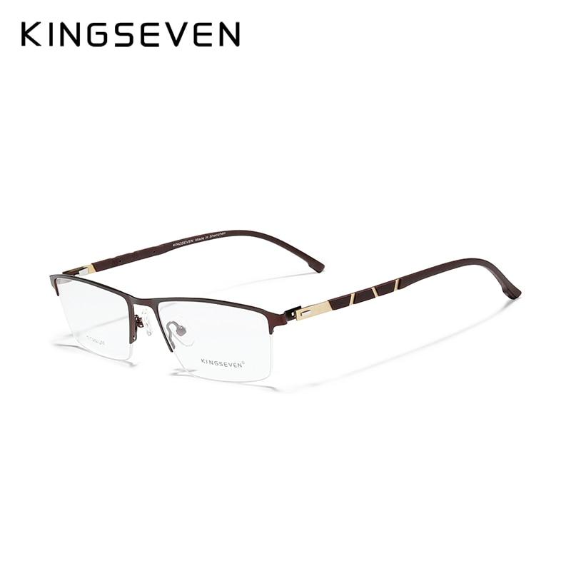 KINGSEVEN Titanium Glasses Frame Women Vintage Round Myopia Support Custom prescription Lenses 1.56