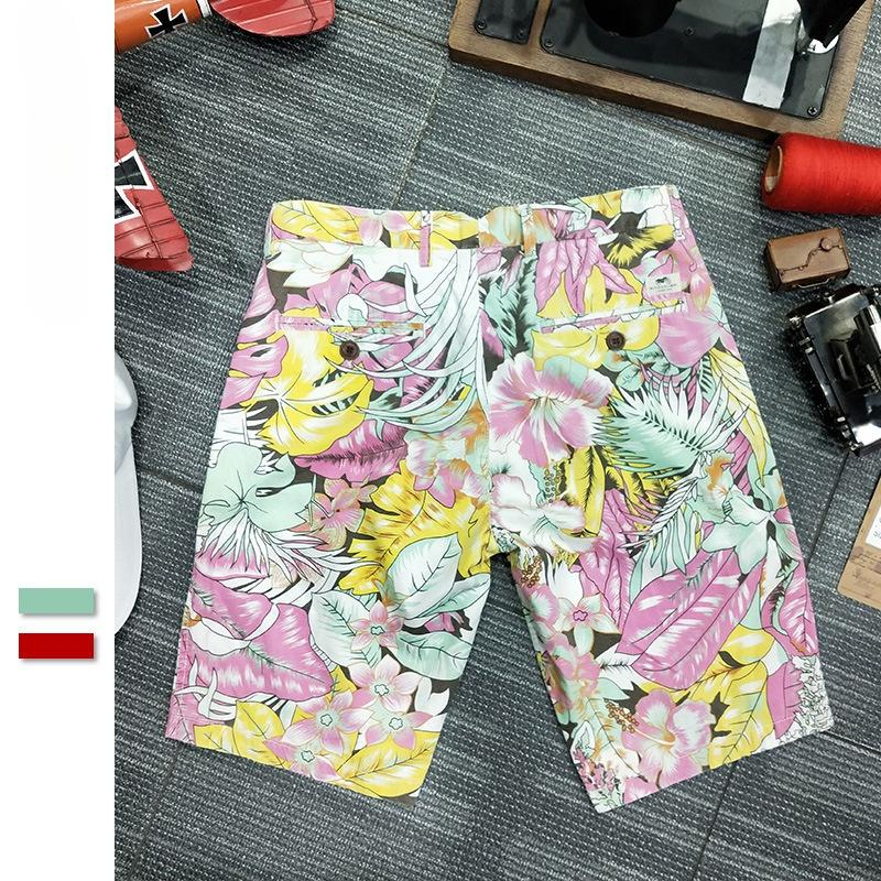 Men's beach pants2021Summer new floral casual shorts men's trendy loose printed cropped pants