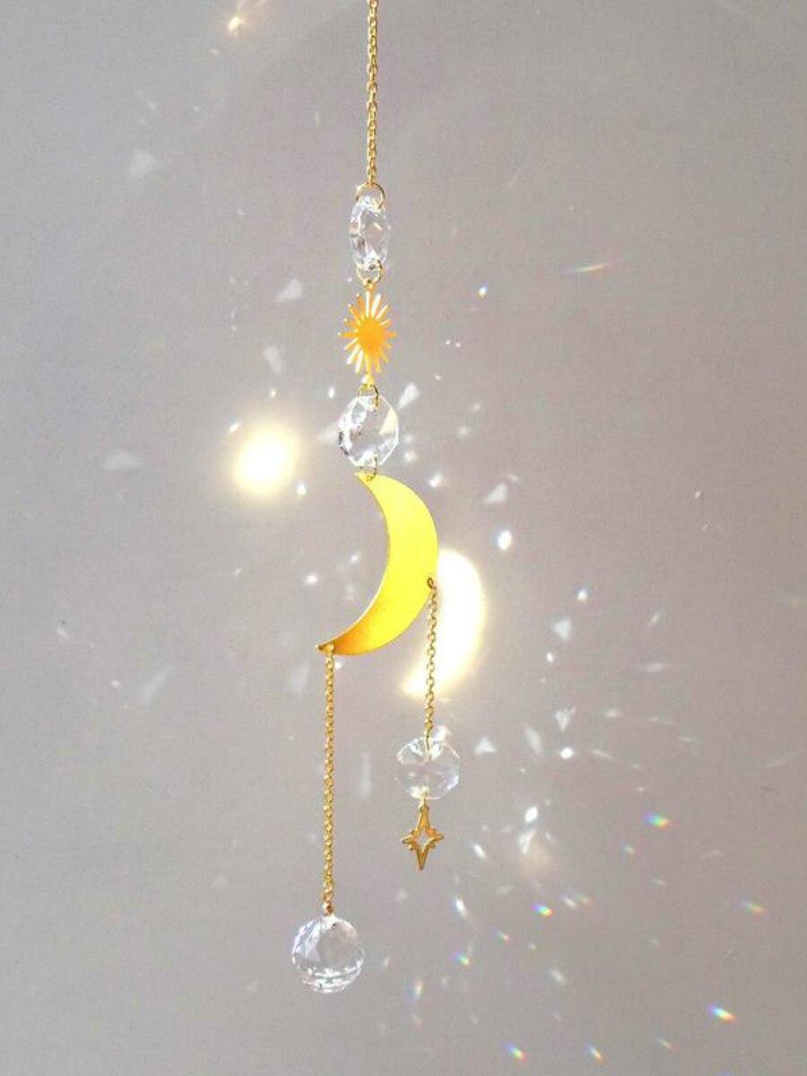 Small Catch Moon Sun, Star, 20mm Ball and Beads, Golden Transparent, Hang to Llluminate Your Home, Suncatcher