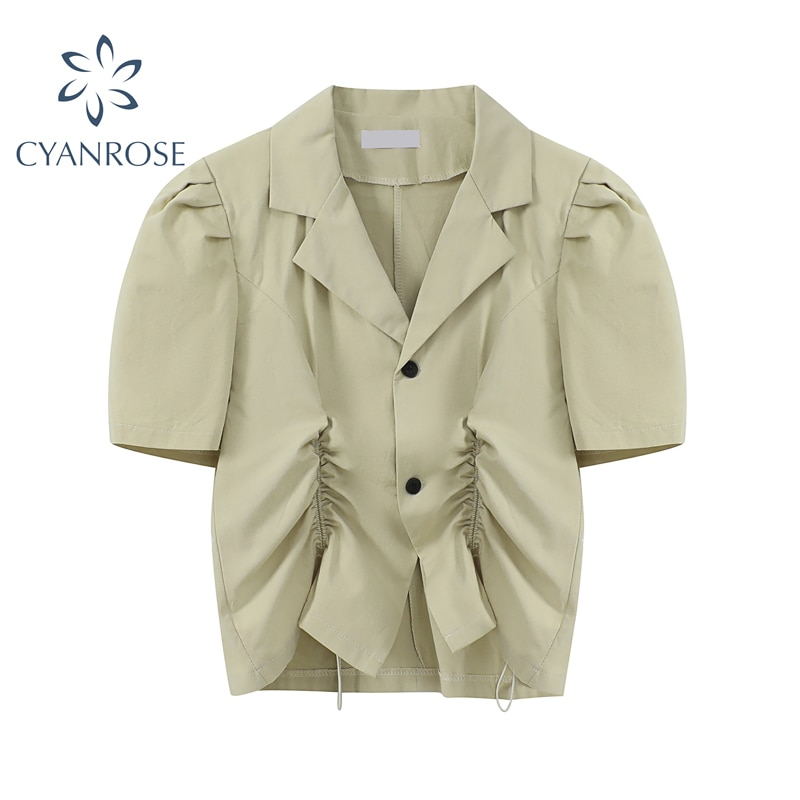 V Neck Drawstring Pleated Short Blazer Waist Shirt For Women Summer 2021 Suit Collar Puff  Sleeve Solid Casual Ladies Blouse Top