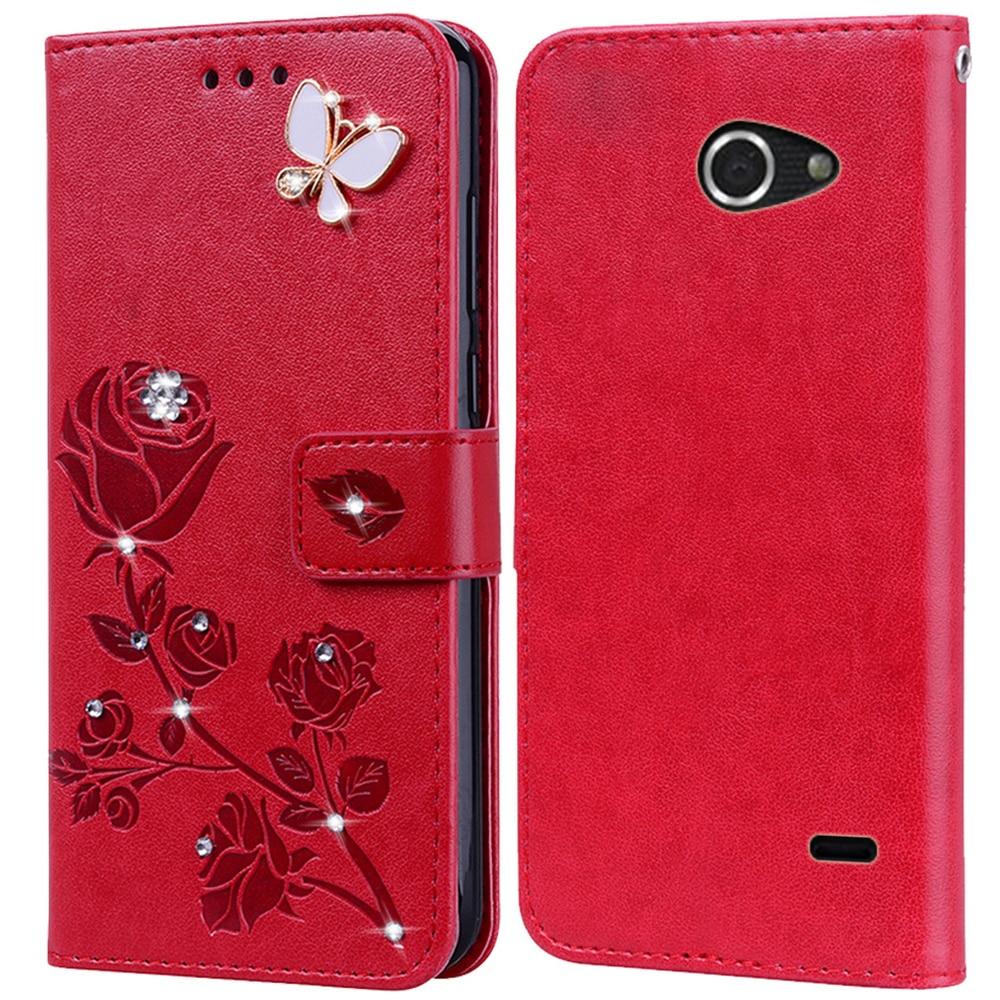 Flip Phone Case Cover for Philips Xenium W8500 Bling Flower 3D Diamond Premium Leather Wallet Case
