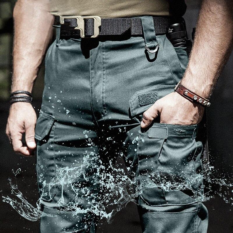 IX5 العسكرية البضائع السراويل الرجال سوات القتالية الجيش السراويل الذكور مقاوم للماء متعددة جيب القطن الرجال العمل السراويل الركض S-3XL