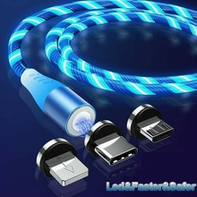 LED Flowing Micro USB Type C Lightning Charger Cable for Android Phone Universal Samsung S10 S20 Plu