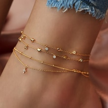 FNIO Bohemia Chain Anklets for Women Foot Accessories 2021 Summer Beach Barefoot Sandals Bracelet an