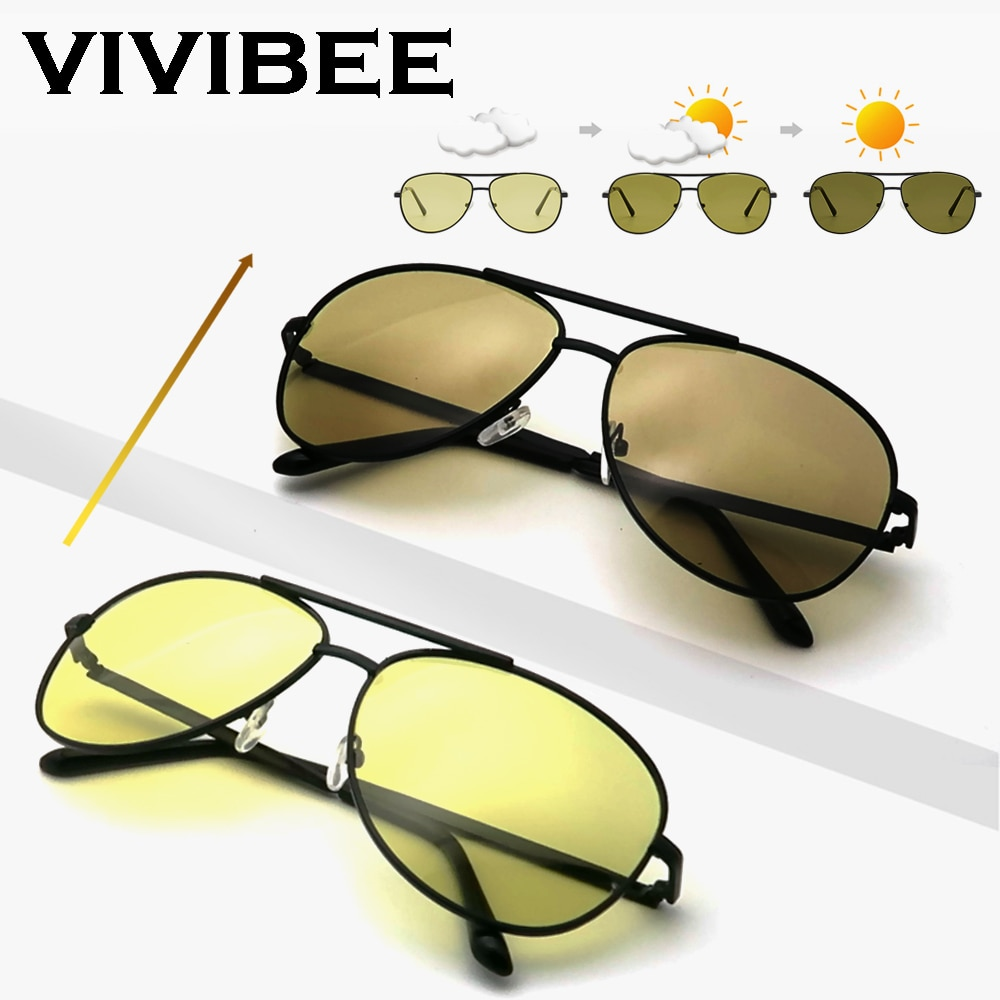 VIVIBEE Color Change Sunglasses Men Pilot Driving Photochromic Yellow Polarized Women Sun Glasses Av