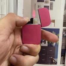 Windproof Butane Lighter Creative Ultra-thin Metal Cute Girl Pink Flame Cigarette Lighter Ladies Gift Smoking Accessories