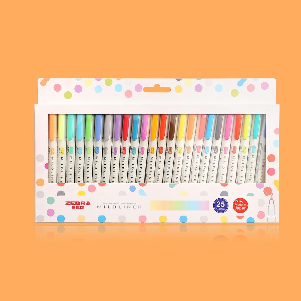 JIANWU 3pcs or 5pcs/set  Japanese stationery  zebra Mild liner double headed fluorescent pen  hook pen color Mark pen cute