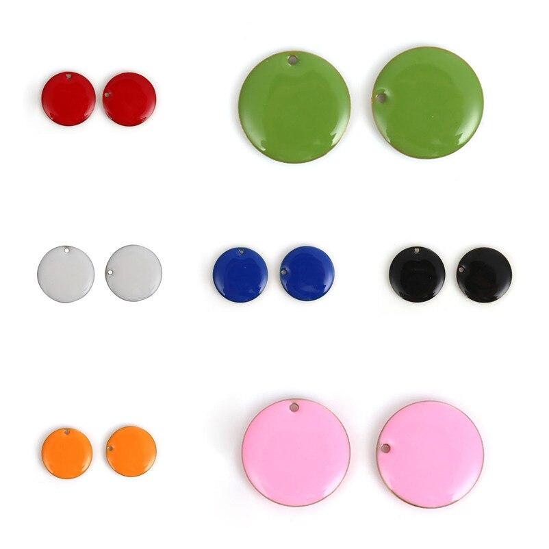 """Doreenbeads moda cobre esmaltado lantejoulas pingente encantos redondos unplated colorido esmalte jóias diy 20mm( 6/8 """") diâmetro, 5 peças"""