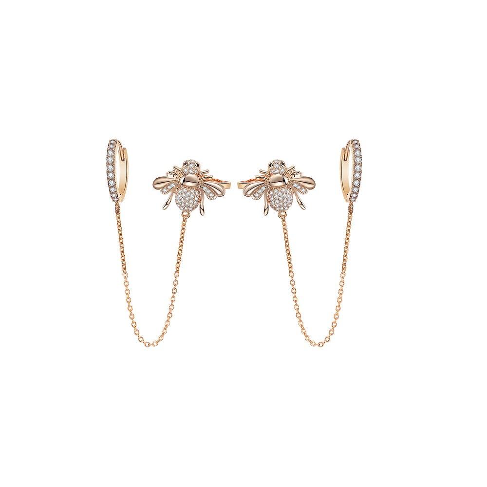 Bonitos pendientes de aro Honey Bee para niñas, pendiente con diamante de imitación oro plateado, colgante de oreja de Animal Tny para mujeres, estilo coreano nuevo 2020