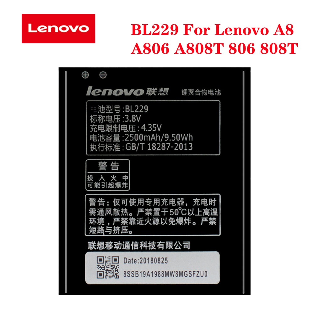 100% Original Levono BL229 Battery For Lenovo A8 A 8 A806 A808T 806 808T 2500mAh Rechargeable Phone LI-ion Batteria In Stock