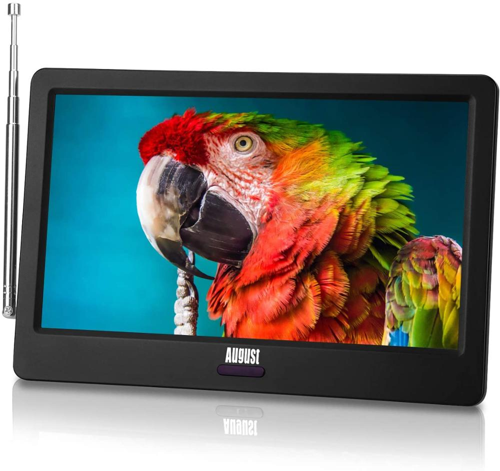 August DA900D HD Portable Freeview TV 9inch Screen LCD Digital Analogue TV for DVB-T and DVB-T2 with Rechargeable Battery