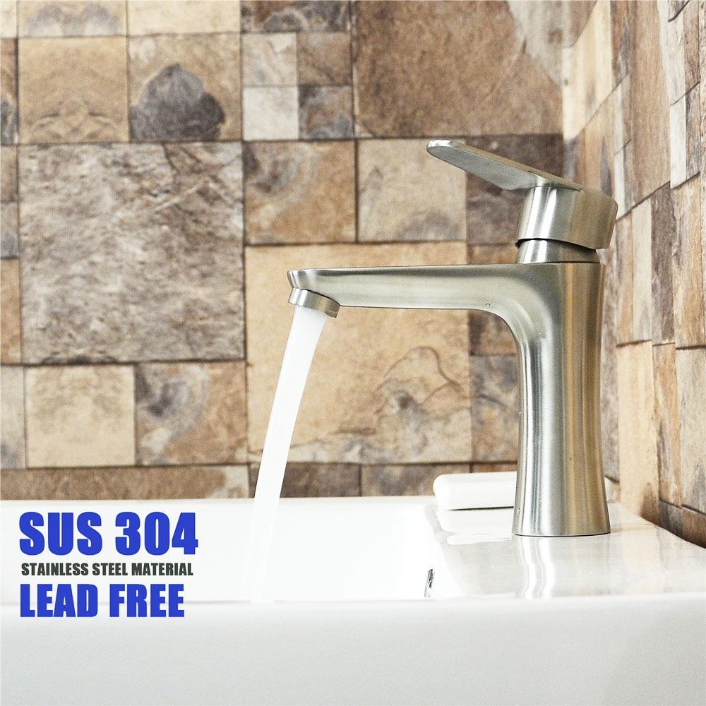 حنفية حمام من الفولاذ المقاوم للصدأ ، حنفية ذات ثقب واحد ، سطح ناعم ، خالية من الرصاص ، للحوض والمغسلة
