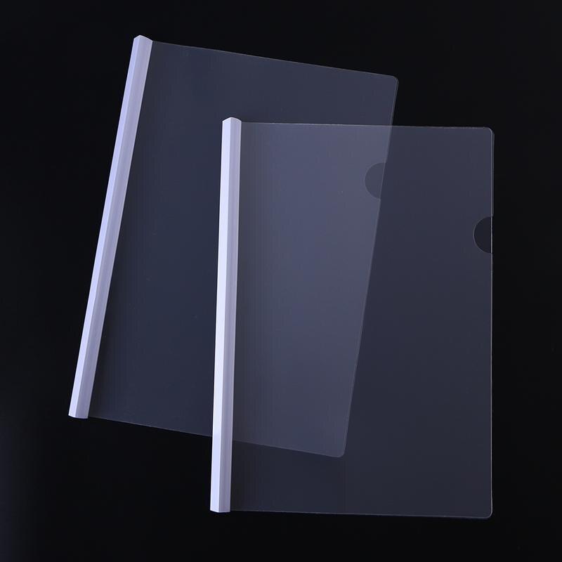 10 Uds carpeta de archivos transparente tapas de informe de barra deslizante para Carpeta organizadora de cubierta de pantalla de informe A4 (blanco)
