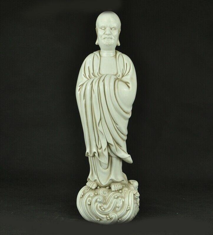 "Decoración de boda 17 ""antiguo chino Dehua blanco porcelana Arhat Damo Bodhidharma estatua de Buda Dharma"