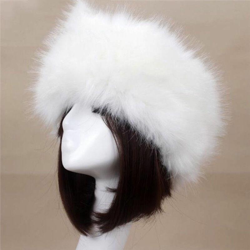 Hirigin Winter Women Fashion Russian Thick Warm Beanies Fluffy Fake Faux Fur Hat Empty Top Hat Heads
