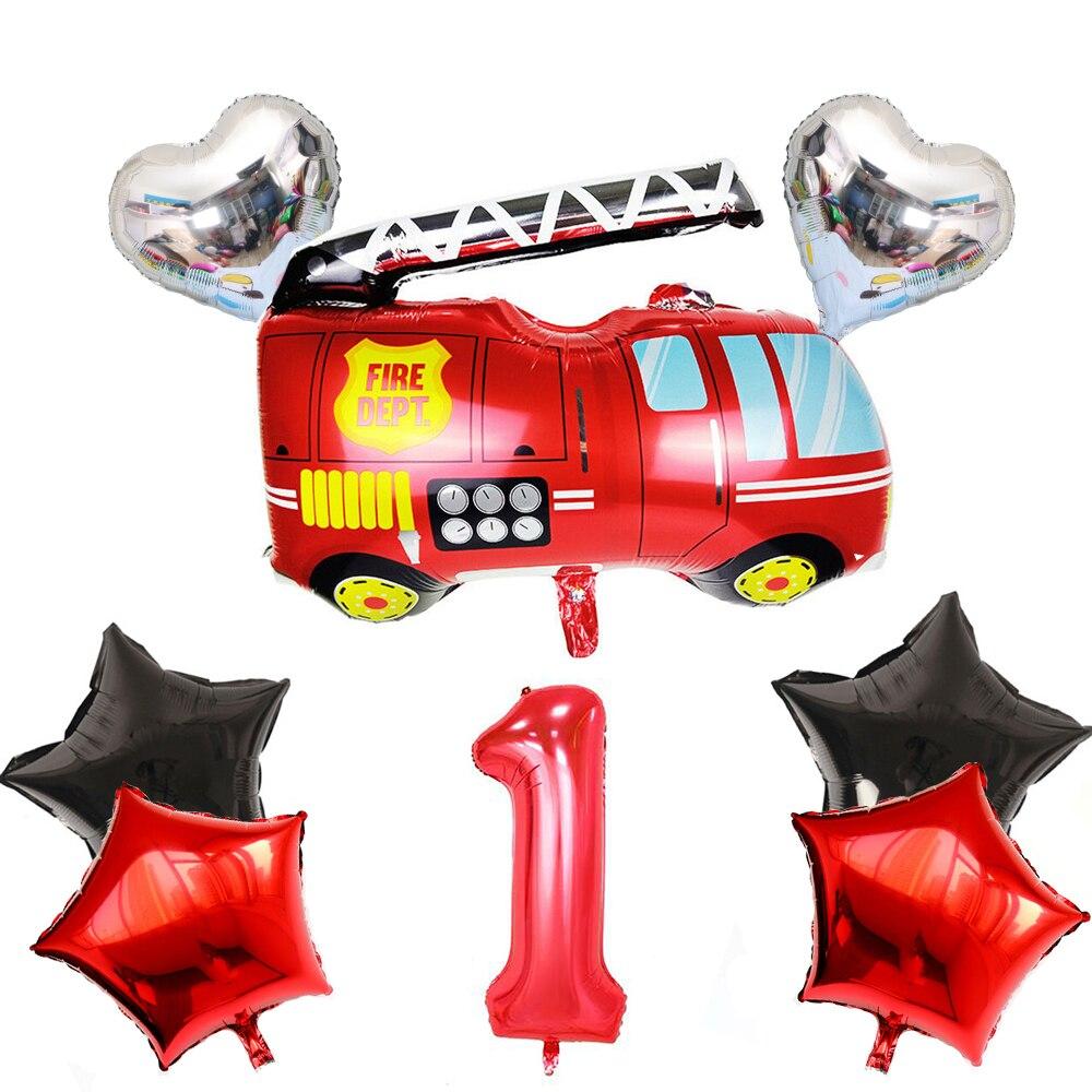 8pcs Folha Número Balões de Aniversário da Criança Caminhão de Bombeiros Bombeiro Menino Ballon Globos De Ar Presente Fontes do Partido do Chuveiro Do Bebê