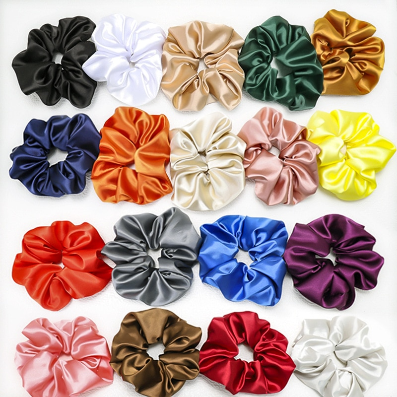 Chouchou Elastic Hair Bands Hair Accessories For Women Silk Scrunchie Oversized Satin Hair Tie Korean Cute Girls Sale Kawaii