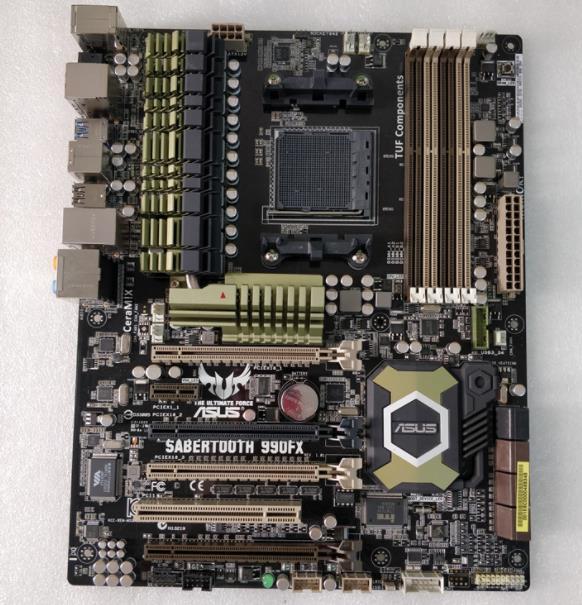 Placa base original para ASUS SABERTOOTH 990FX, conector DDR3 AM3 + USB2.0,...