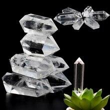 Blanco piedra curativa natural tratamiento de Reiki mano de cuarzo pulido de doble punta Hexagonal varita claro cristal obelisco de decoración para el hogar