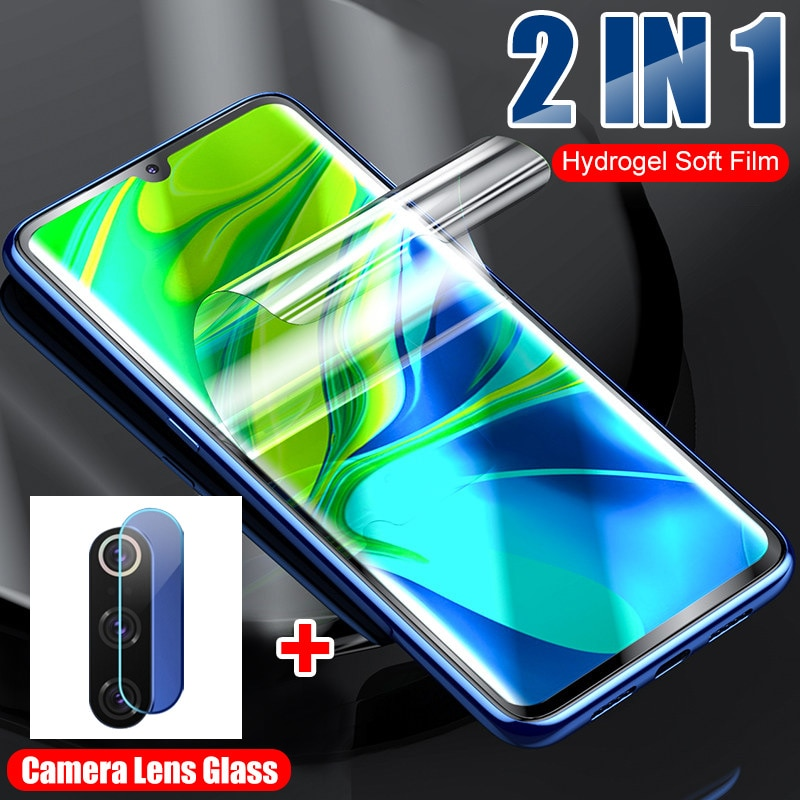Película suave de hidrogel 2 en 1 y cristal de lente de cámara para Xiaomi Mi A3 9 Lite 9 SE CC9E CC9 Note 10 9T Pro, cristal Protector de pantalla