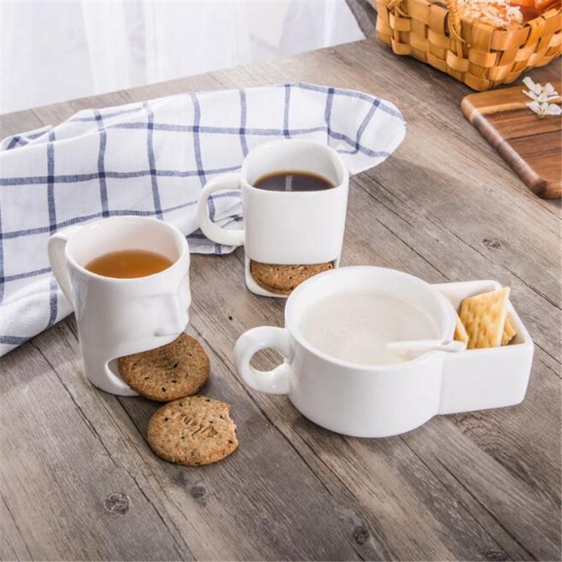Coffee Cup Creative Coffee Mug With Biscuit Cookie Dessert Pocket Funny Mug Ceramic Mugs Tea Cup Drinkware