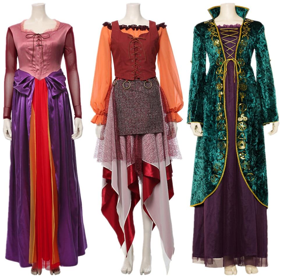 Hocus Pocus Cosplay Mary Sarah Winifred Sanderson Cosplay Vestido Outfit Halloween Fantasias de Carnaval Para Mulheres Adultas Dos Homens