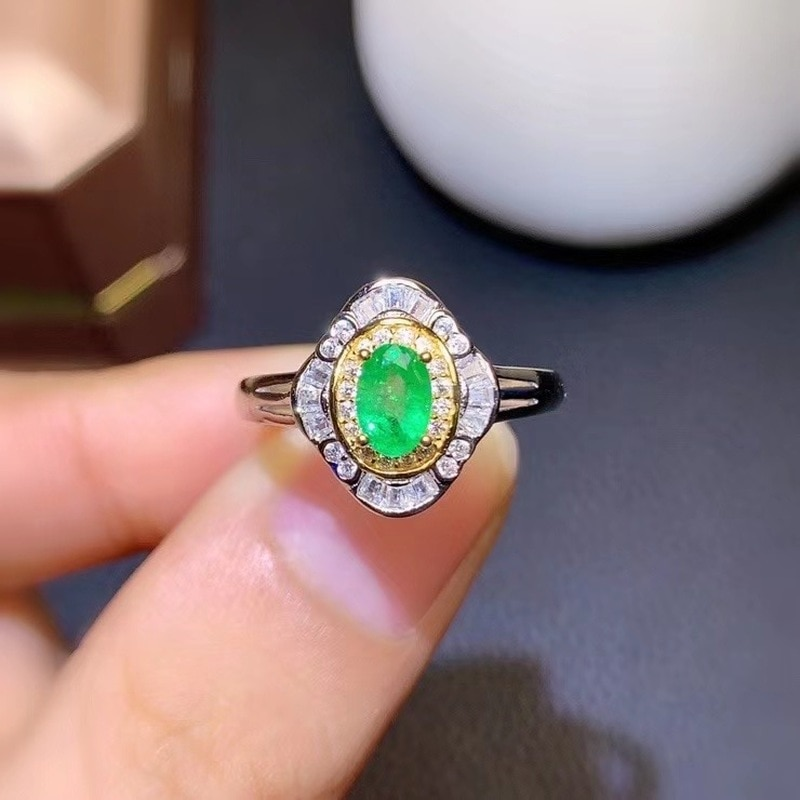Natural Colombia Emerald Ring 925 Silver 4*6mm Love Gift Stone Ring AAAA Crystal Healing Stone Low P