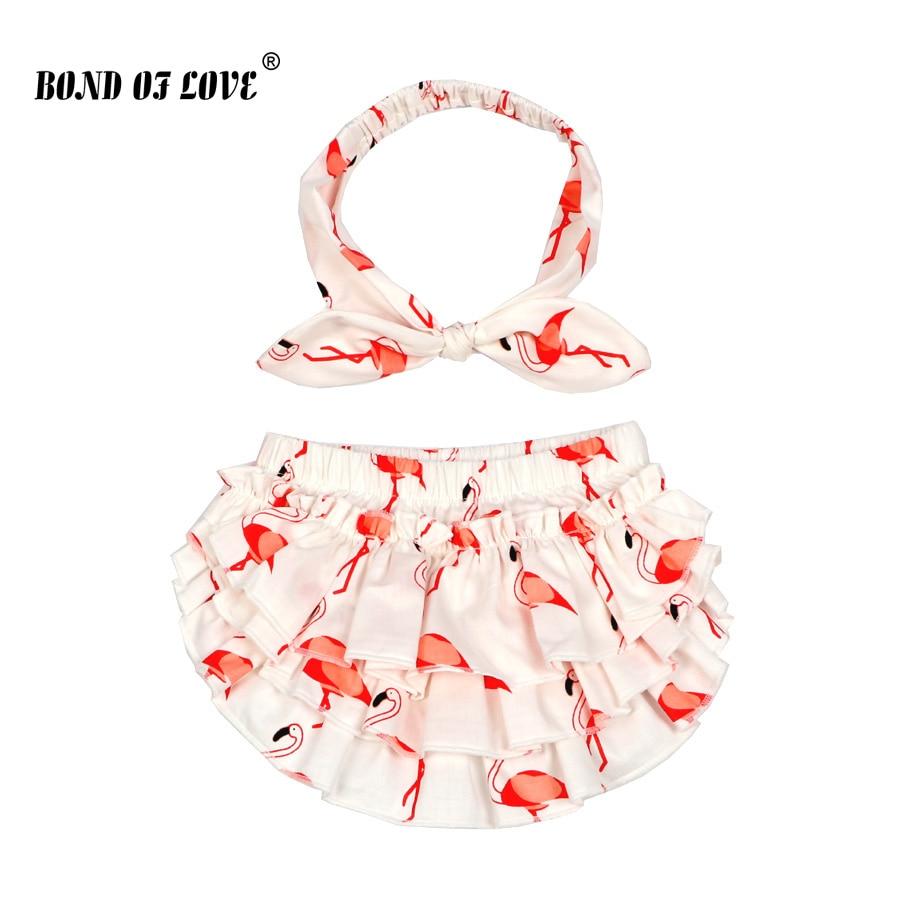 Novo algodão roupas da menina do bebê flamingo impresso bloomers bebê shorts e bandana meninas meninos fralda capas 0-2 anos