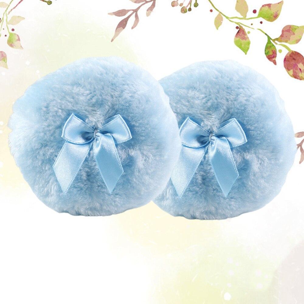 2 uds Puff suave de polvo de felpa Bowknot decoración redondo flocado esponjoso Puff polvo para maquillaje (azul)