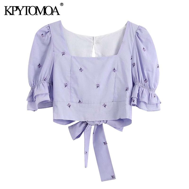 Kpytomoa feminino 2020 doce moda floral bordado recortado blusas vintage puxar mangas voltar laço feminino camisas chiques