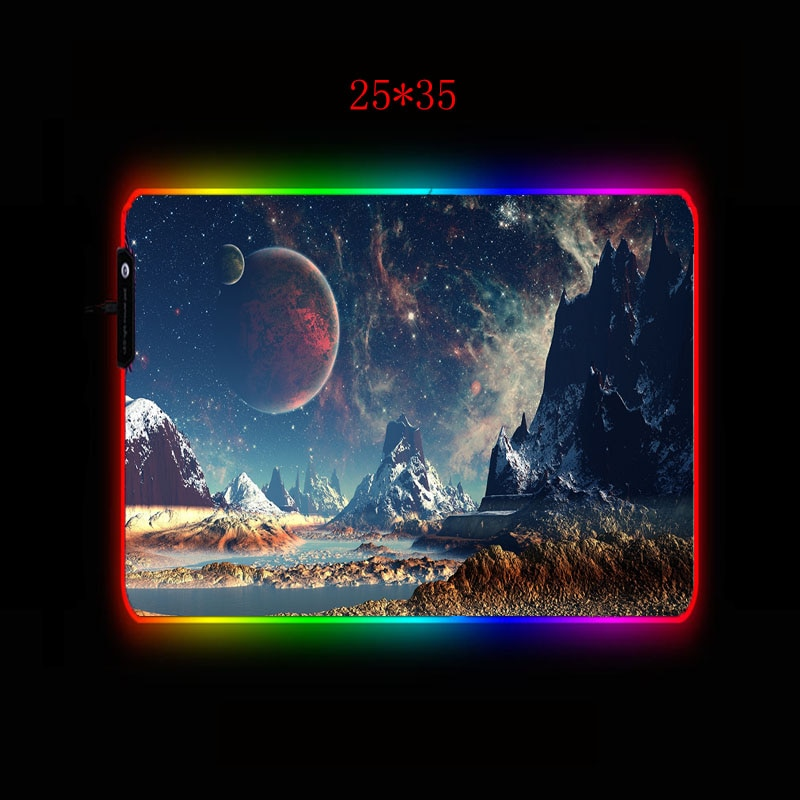Space Planet Landscape Gaming RGB Large Mouse Pad Gamer Computer Mousepad Led Backlight Surface Mause Pad XXL Keyboard Desk Mat enlarge