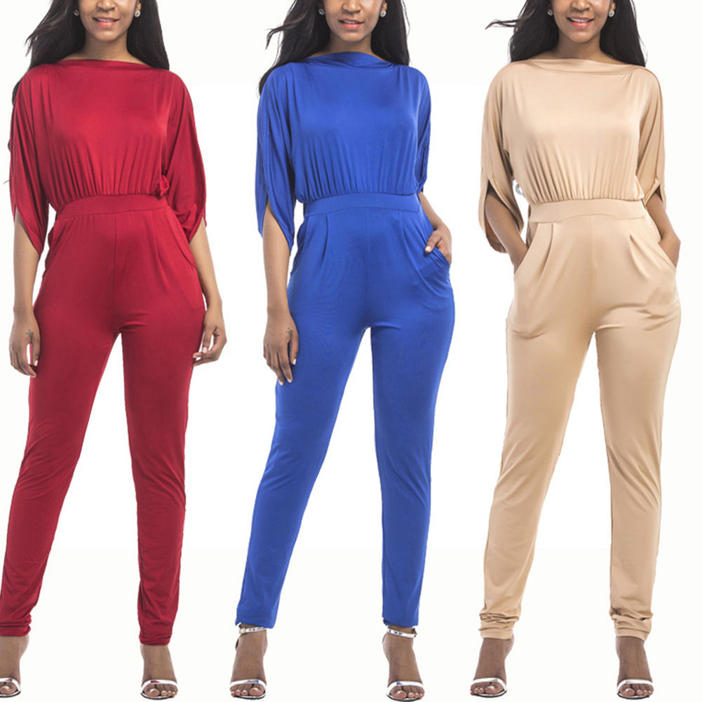 Newest Women Solid Color Jumpsuit Slim Fit Long Pants Office OL Casual Overall Playsuit