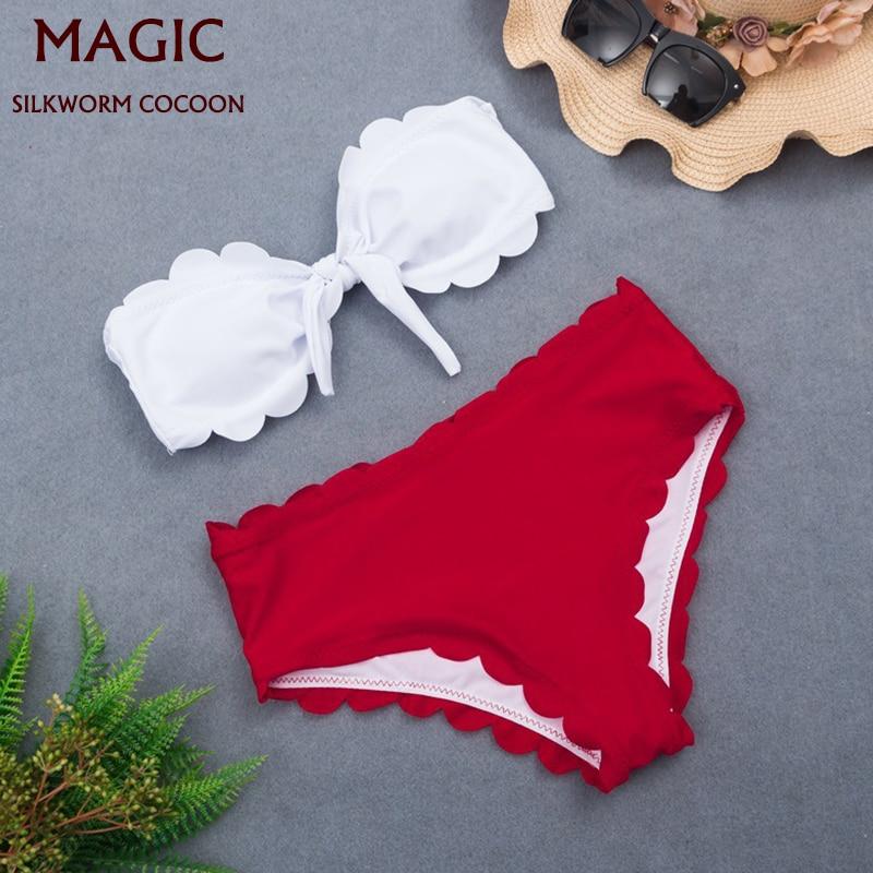 Conjunto de Bikini blanco nuevo de banda, bañador Sexy dividido de dos piezas, traje de baño de playa para mujer, traje de baño rojo de cintura alta, Bikini para playa