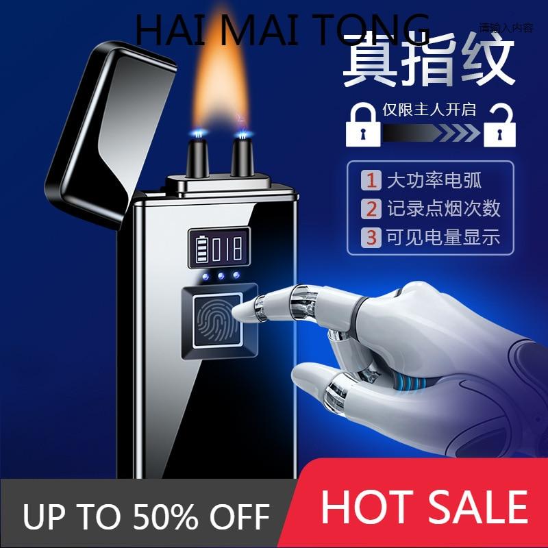 JL168 new high-flame high-power true fingerprint cigar arc charging lighter cigarette lighter