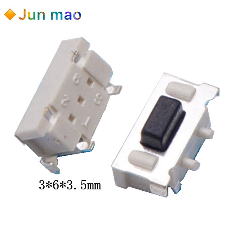 100 Uds. Interruptor de Micro tacto táctil 3*6*3,5 3x6x3,5 SMD para MP3 MP4 Tablet botón Bluetooth auriculares Control remoto caliente