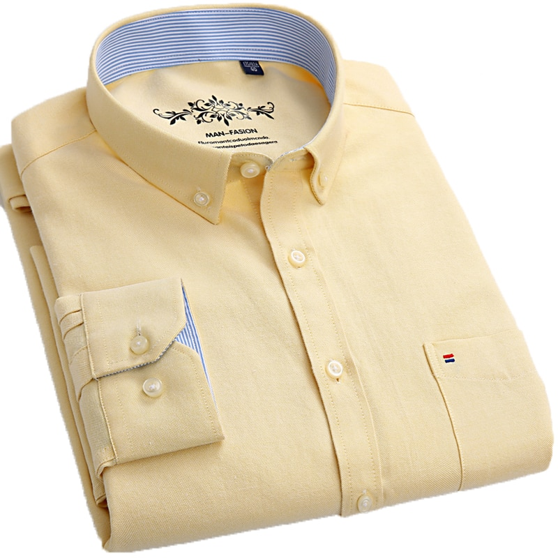 Aoliwen Spring New Mens Casual Oxford Spin shirts Long Sleeve Cotton Shirt Yellow Patch pocket long sleeve formen slim fit