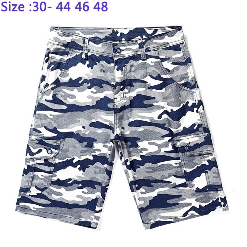 Pantalones cortos finos de primavera y verano a la altura de la rodilla para hombre, pantalones de algodón informales holgados de cintura alta, tallas grandes para hombre 44 46-48