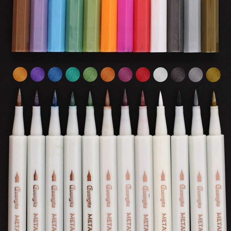 Metallic Calligraphy Marker Soft Brush Tip Painting Pens for Stone,Scrapbook DIY Photo Album,Rock,Card Making,Metal and Ceramics