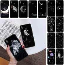 Black White Moon Stars Space Astronaut Phone Case For Xiaomi Redmi 4X 5Plus 6A 7 7A 8 8A Redmi Note 4 5 7 8 9 Note 8T 8Pro 9Pro