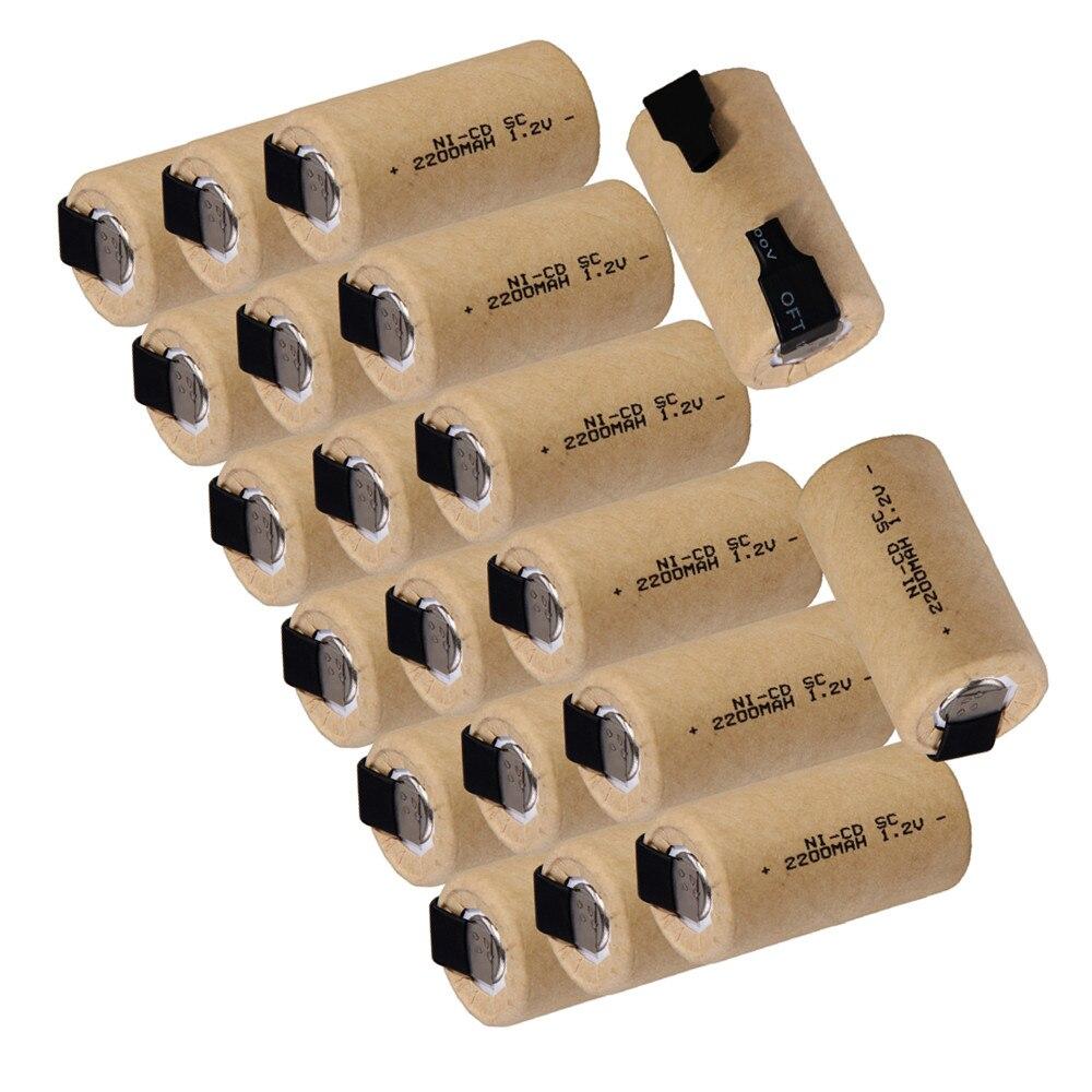 Batería yeckpofo 20 Uds SC 2200mAh subc 1,2 V, baterías de NI-CD para Bosch Mikita Dewalt Hitachi, herramienta eléctrica, batería de herramienta eléctrica