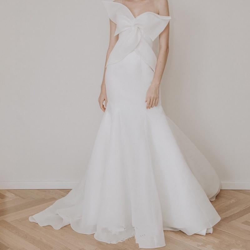 BGW HT4921 White Chiffon Mermaid Wedding Dresses Sleeveless Backless With Sweep Train Vestidos De Novia Con Encaje 2020